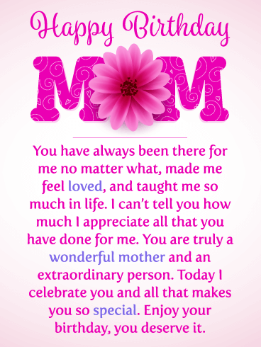 touching birthday message for mother